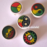 100 Ceramic Clay Beads, round 14mm, many designs