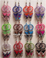 colorful large Dreamcatcher Earrings