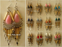 Bamboo and stones earrings