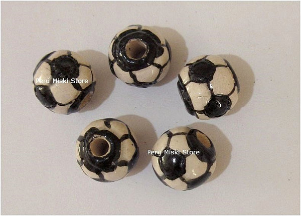 Ceramic Clay Beads, Soccer Ball, 12mm