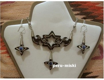 10 Sets, Bull Horn and semiprecious stones, necklaces and matching earrings