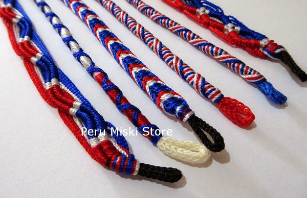 friendship bracelets, blue-white-red