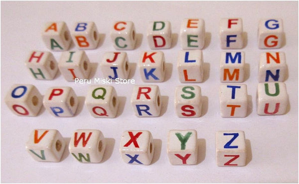 150 Ceramic Clay Beads, 9mm cubes, letters A to Z