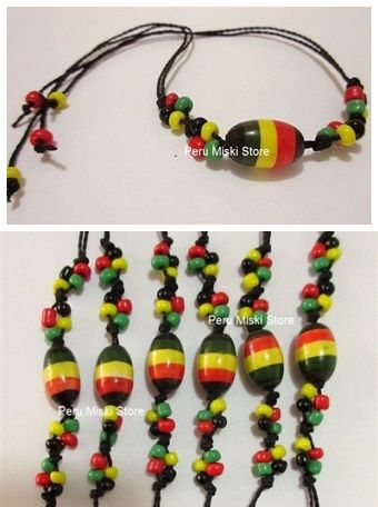 70 Rasta Friendship Bracelets in waxed thread with ceramic beads