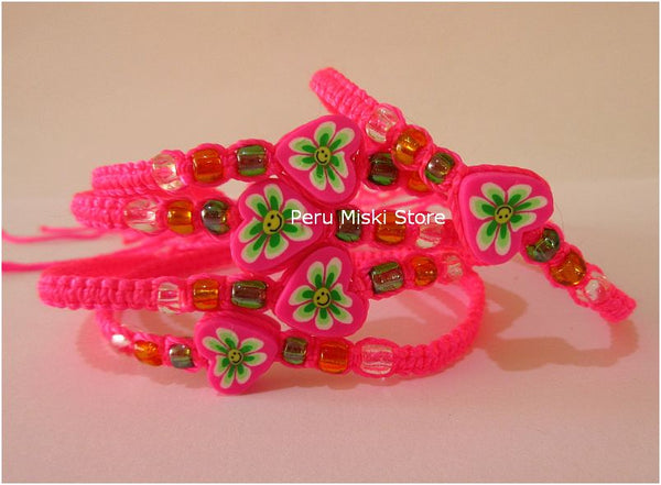 Friendship Bracelets with Fimo Flower - Hot pink