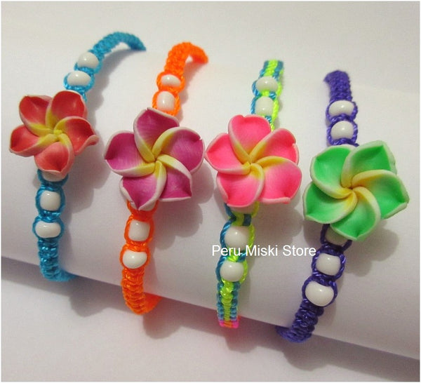 100 Friendship Bracelets with Clay Plumeria Flowers
