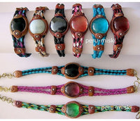 100 Leather and Gem Glass Bracelets