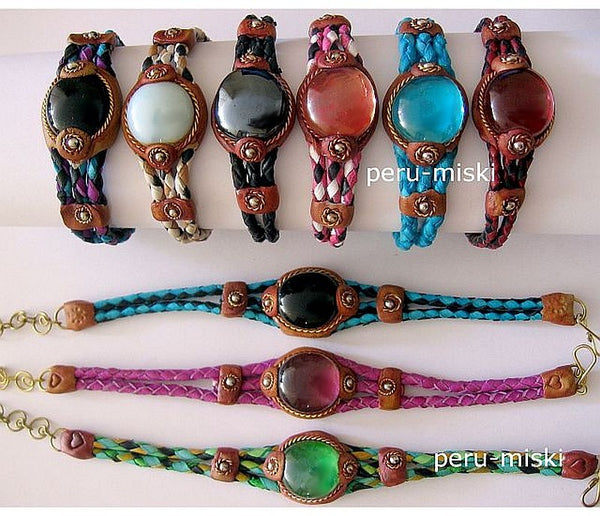 14 Leather and Gem Glass Bracelets