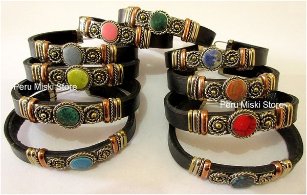 Leather Bracelets, Cuffs, Handcrafted with Semi Precious Stones