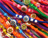 Friendship Bracelets with Flowers in small ceramic beads