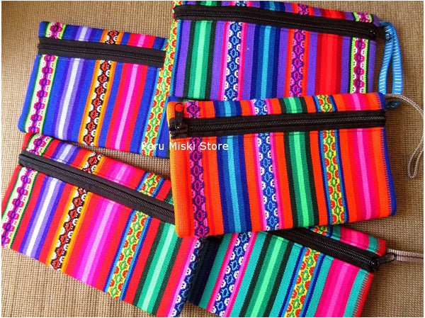 Pencil cases in peruvian manta, bright colors
