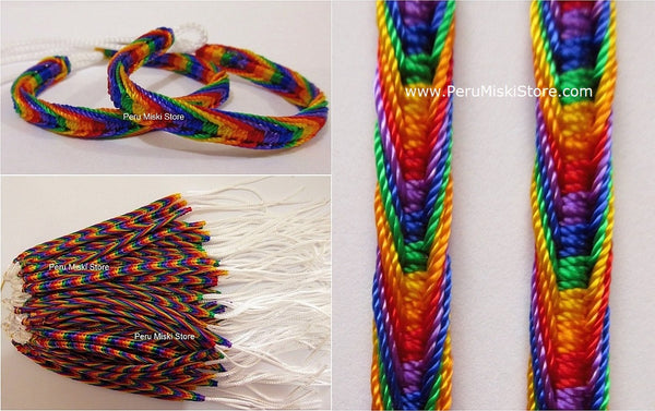 Friendship Bracelets Rainbow Fishbone Knot - white cord
