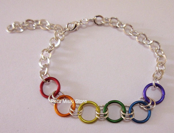 Rainbow Bracelets with Jump Rings