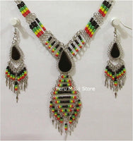 50 Rasta Sets with semiprecious stones and alpaca silver, necklaces and matching earrings