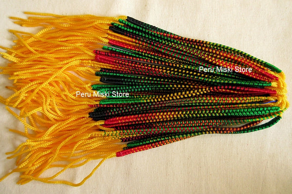 100 Rasta Friendship Bracelets, Double Knot