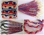100 Friendship Bracelets, Red-white-blue, Mix lot