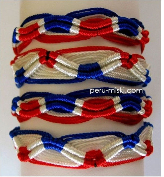 100 Friendship Bracelets Zigzag, Red-white-blue