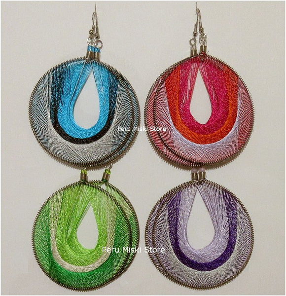 Large Thread Earrings, multicolor round, Handcrafted