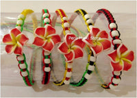 Rasta Friendship Bracelets with Clay Plumeria Flowers