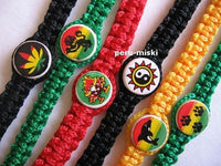 50 Rasta Bracelets with Round Ceramic Beads