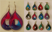 Thread Earrings, multicolor drop, Handcrafted