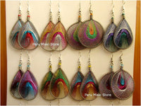 Metallic Thread Earrings, drop and round, Handcrafted