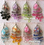 Thread Earrings, with Beads, Handcrafted