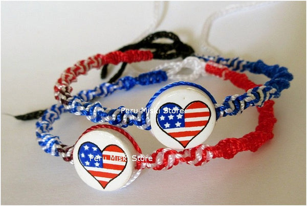 30 USA Flag Friendship Bracelets, Hearts