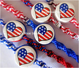 70 USA Flag Friendship Bracelets, Hearts