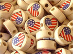 Ceramic Clay Beads, Heart with USA flag