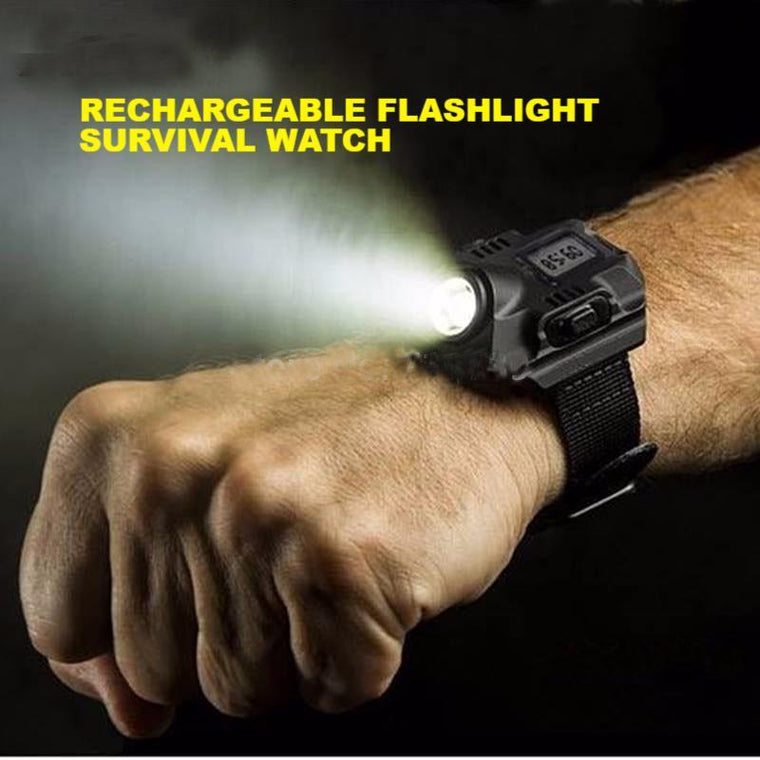Rechargeable Flashlight Survival Watch