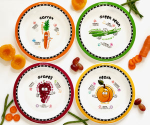 Healthy Kids Plates set 1 - carrot, great bean, grapes, and peach