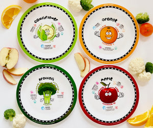 Healthy Kids Plates set 2 - cauliflower, broccoli, orange, and apple