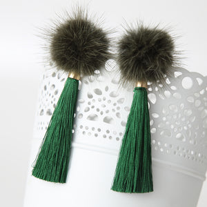 Loven Royal Drop Pom Statement Earrings