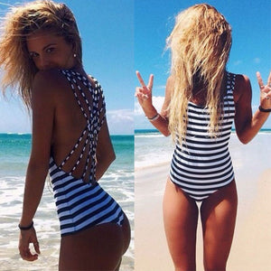 Danielle Cross Back Breton Stripes Monokini