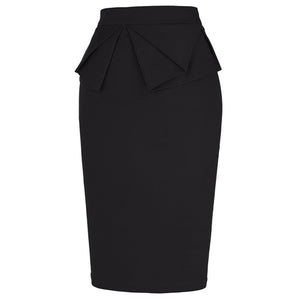 Markle High Waisted Midi Pencil Skirt