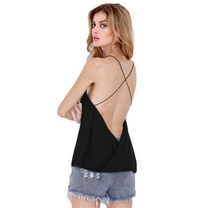 Kendall Minimalist V-Neck Cross Back Camisole Top