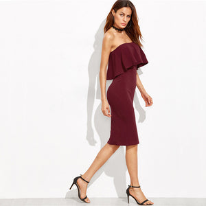 Tyra Bandeau Pencil Dress in Burgundy