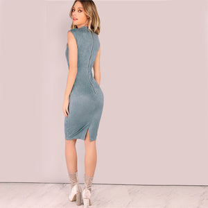 Kravitz Faux Suede Pencil Dress