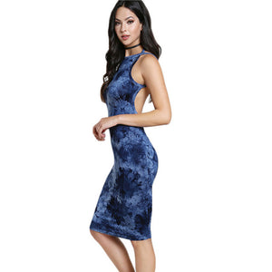 Delevigne Tie Dye Backless Midi Dress