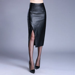 Alisha Vegan Leather Overlap Pencil Skirt