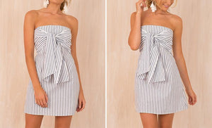 Ludivine Striped Tie-Front Bandeau Mini Dress