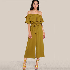Leila Off The Shoulder Cascade Jumpsuit