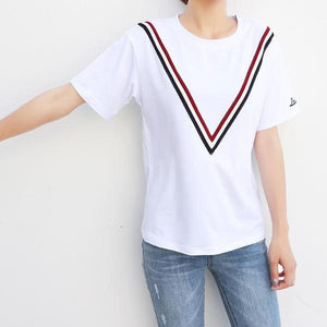 La Parisienne Chevron Stripes Graphic Tee
