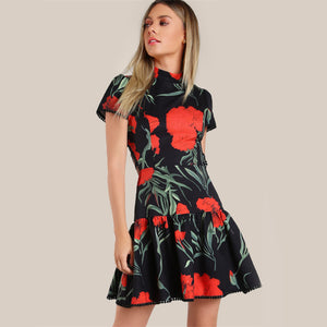 Celia Fit & Flare Lace Up Floral Dress