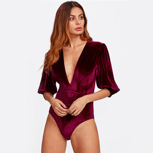 Whitney Bishop Sleeves Plunge Neck Velvet Bodysuit