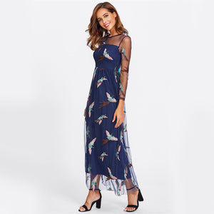 Leila Embroidered Birds in Flight Illusion Neck Maxi Dress