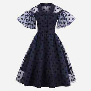 Linkletter Vintage Polka Swing Dress With Fluted Sleeves