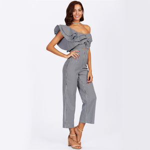 Onyx Asymmetric Shoulder Ruffles Jumpsuit