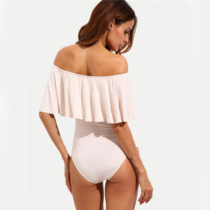 D'amato Blushing Ruffle Off The Shoulder Sheath Bodysuit